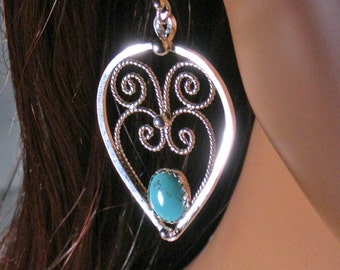 Sterling silver filigree earrings with turquoise stones, dangle ,statement, gift
