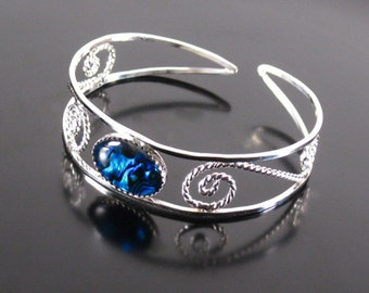 Cuff bracelet sterling silver filigree with blue paua shell ,statement, gift