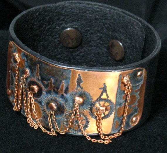 Leather cuff with copper etched panel and chains ,statement