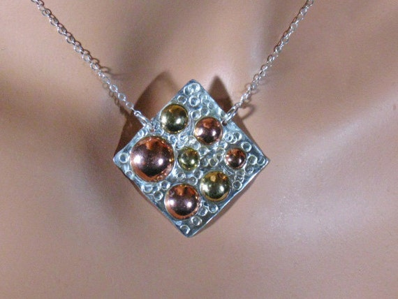 Sterling silver, copper and brass bubbles pendant ,statement, gift