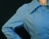 Stylish Sky Blue Vintage 70s Mod Trench Coat ML L Belted