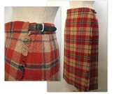 Vintage Tartan Kilt / Scottish Highland Skirt / M ML