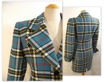 Vintage 80s Yves Saint Laurent Plaid Jacket and Skirt Suit XS YSL