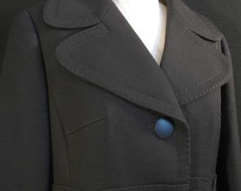 Vintage 60s Mod Black Gabardine Coat M by Horst Mandel