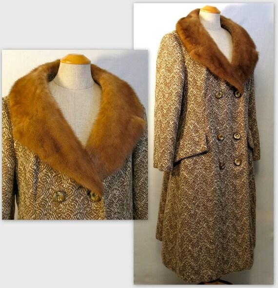 ON HOLD 60s Tweed Coat / Novelty Tweed / L / Mink Collar / Vintage Winter Coat