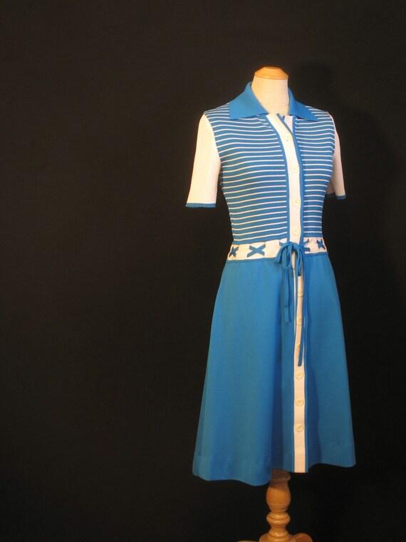 Vintage 70s Striped Dress / Ribbed Knit Stripes / XS / Ian Peters