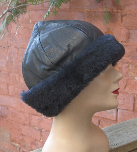 ON HOLD Vintage Leather Hat / 70s Mongolian Style / 22 / Faux Fur Trim
