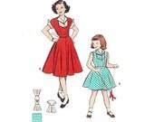 Vintage 50s Dress Sewing Pattern 1950s Girl's Rockabilly Summer Jumper Winged Cuff Blouse Dress Pattern size 10 Butterick 5964