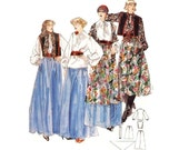 Vintage 70s Sewing Pattern Peasant Bow Blouse Vest Shawl Boho Ethnic Dirndl Maxi Skirt Sewing Pattern size Small Uncut Butterick 5137