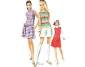 Vintage Mod Scooter Dress 1960s Romper Sewing Pattern Skort Bust 36 Petite Sleeveless Dress Sewing Pattern 60s Simplicity 8147
