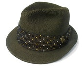 Vintage Fedora Hat 60s Hemp Milan Woven Straw Olive Green size 7 Small