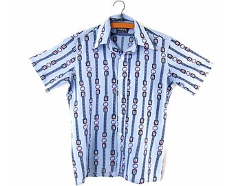 Vintage 1970s Shirt Blue Gray Disco Short Sleeve Cellini size Medium