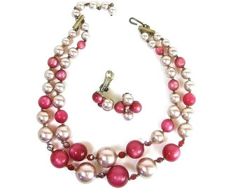 Vintage  Necklace 50s Pink Moonglow Aurora Borealis Bead Double Strand