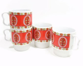 Vintage Coffee Mugs Ceramic Red Yellow Orange Floral Set 4 Cups Made in Japan Collectible Vintage Kitchenware Home Decor