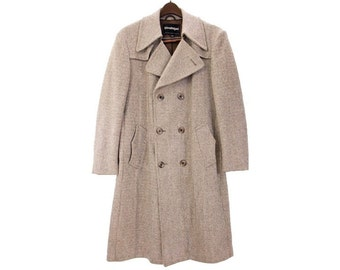 Vintage 1970s Man's Wool Tweed Trench Topcoat, Gray Taupe Weave, Buckle Belt size 44