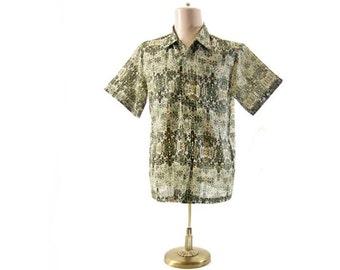 Vintage 1960s Loop Sports Shirt Ethnic Print Olive Green Yellow Lightweight Semi Sheer Short Sleeve Vintage Shirt Rockabilly size Large