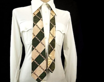 1950s Vintage Striped Necktie Wide Swing Jacquard Green Beige Diagonal Stripe Tie