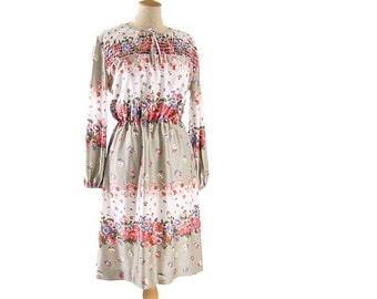 Vintage Smocked Dress Long Sleeve Knee Length Rose Floral Beige Pink Blue 1970s Stretch Polyester Dress size Large Vintage Clothing