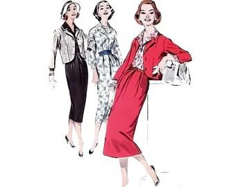 Vintage Suit Sewing Pattern Jacket Slim Skirt Blouse Plus Size 18 Large XL Bust 38 Uncut Butterick 8298 Unused