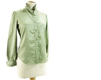 Vintage 80s Puff Sleeve Blouse High Neck Ruffle Blouse Green Polka Dot Red White Blue size Small Petite Villager Silky Polyester Blouse