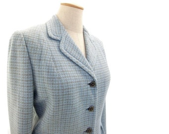 Vintage 60s Plaid Wool Suit 1960s Blue Gray Jacket Skirt Small XS Office Secretary Look Interview Suit Genuine Vintage Clothing