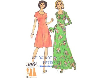Vintage Maxi Dress 70s Sewing Pattern Scoop Neck Knee Length Flare Skirt Dress Pattern Uncut size Large XL Bust 39 Jiffy Simplicity 7030