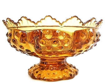 Vintage 60s Amber Glass Compote Fenton Hobnail Stemmed Centerpiece Mid Century Candle Holder Collectible 1960s Vintage Glassware