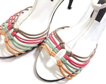 Vintage 1980s Leather Shoes Sandals T-Strap Pink Green White High Heel size 8 1/2 Vintage 80s Strappy Summer Shoes