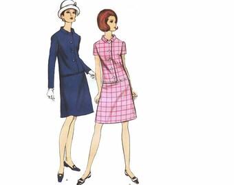 Chic Vintage 1960s Sewing Pattern A Line Dress Drop Waist Knee Length Flare Skirt Uncut size 14 Medium Bust 34 Vogue 7166 Unused