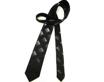 Vintage 1960s Necktie Skinny Narrow Black Gray Silver Geometric Wembley Tie