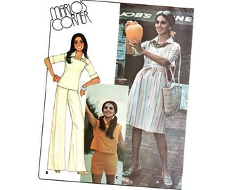 Vintage Sewing Pattern 70s Dress Top Tie Belt Pants Shorts Multiple Size XS Small Medium Uncut McCall's Marlo's Corner 4933 Unused