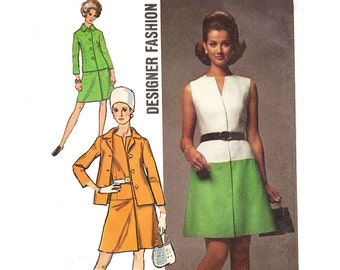 Vintage Sewing Pattern 70s Shift Dress A-Line Skirt Matching Jacket Size 14 Medium Bust 36 Uncut Simplicity 8691 Unused