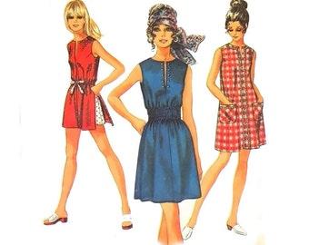 Vintage Mini Dress Sewing Pattern Smocked Shift Sleeveless Mod Tunic size 12 Medium Bust 34 Simplicity 8832 Jiffy Pattern Fast Easy Beginner