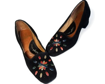 Vintage 1960s Shoes Colorful Red Blue Green Woven Leather Embroidery Black Suede Low Chunky Square Toe Heel Pumps size 7 Vintage Footware