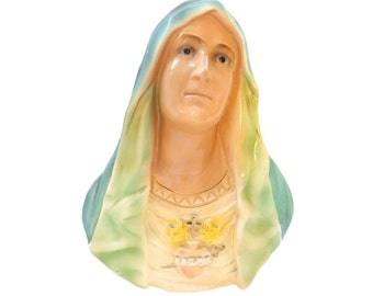 Vintage Madonna Chalkware 1940s Sacred Heart Virgin Mary Religious Plaster Wall Plaque LARGE