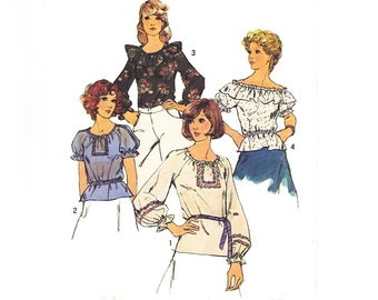 Vintage Boho 1970s Sewing Pattern Hippie Peasant Blouse Off the Shoulder Ruffle size 8 10 Small XS Simplicity 6412
