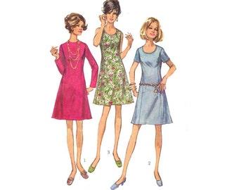Vintage Sewing Pattern A-Line Princess Sheath Dress Petite Half Size 16 1/2 Bust 39 Simplicity 8889