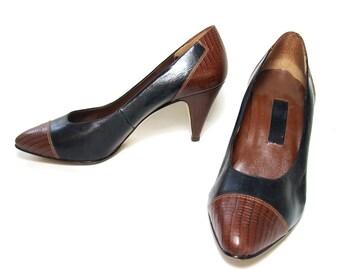Vintage Shoes Etienne Aigner Leather Pumps 1980s Black Brown size 8