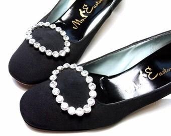 Vintage 1960s Shoes Evening Rhinestone Buckle Pumps Heels 6 1/2 Narrow