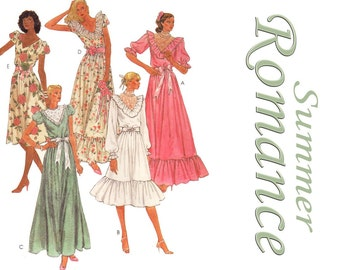 80s Vintage Sewing Pattern Dress Bridal Gown Puff Sleeve Lace Ruffle Bridesmaids Dress Maxi Knee size XS Bust 30 1/2 McCall's 7615