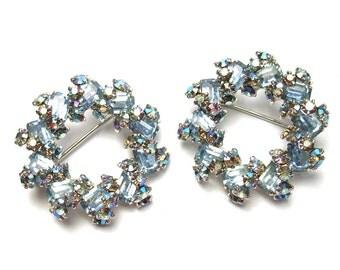 Pair of Vintage 50s Circle Pins Blue Rhinestone Brooch Aurora Borealis Mid Century Costume Jewelry
