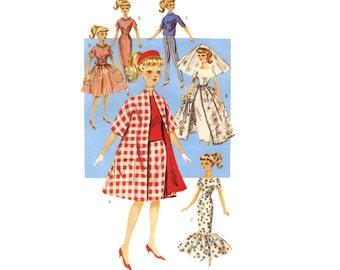 Retro Fashion Doll Sewing Pattern 11 1/2 Inch Clothing Wardrobe Mermaid Dress Wedding Bridal Gown Swing Coat Uncut Butterick 6496 Unused