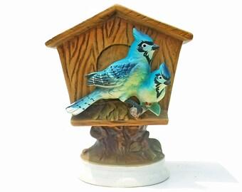 Vintage 60s Ceramic Planter 1960s Blue Jay Birdhouse Collectible Home Decor Bluejay Bird Planter Brinn's Made in Japan