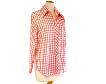 Vintage Western Blouse Red Plaid Nubby Check 1970s Pointy Collar Long Sleeve size Large