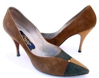 Vintage 1950s Shoes Suede Spike High Heel Stilettos Brown Pumps Suede Colorblock Shoes size 9 1/2