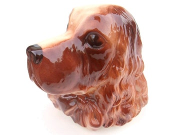 Vintage 40s Ceramic Dog Wall Pocket Ceramic Planter Vase Royal Copley Reddish Brown Cocker Spaniel Home Decor 1940s Collectible Wall Art