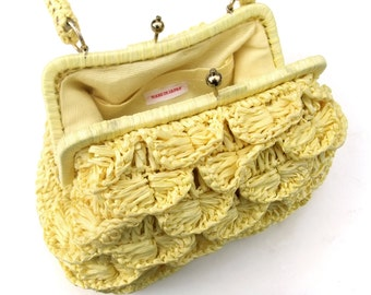 Vintage Purse 1960s Yellow Crochet Shell Raffia Handbag 60s Kisslock Clasp Crocheted Bag Kelly Style Summer Accessory Hand Made in Japan