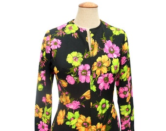 Vintage Maxi Dress 70s Black Floral Pink Green Yellow Bright Neon Citrus Colored Flowers Fitted Bodice Flare Skirt Long Sleeve size Medium