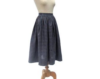 Vintage Skirt 1950s Blue Plaid Gathered Dirndl Brown Yellow Medium size Large Plaid Rockabilly Skirt