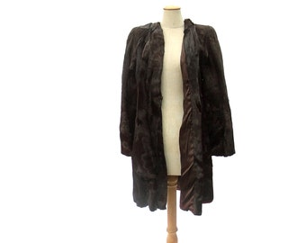 1940s Vintage Horse Fur Swing Coat Brown Hair Hide Pelt Small XS
